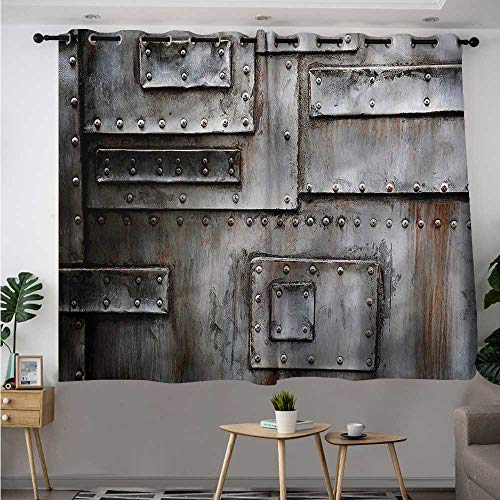 - Fbdace Industrial Grommet Curtains Grunge Old Wall Entrance Blackout Draperies for Bedroom W 63