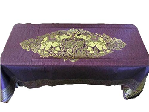 Open Rectangle Table Lamp (Elephant Table Cloth Cover Rectangular Embroidered Gold Fabric Elegant Tablecloth For Rectangle Table 40