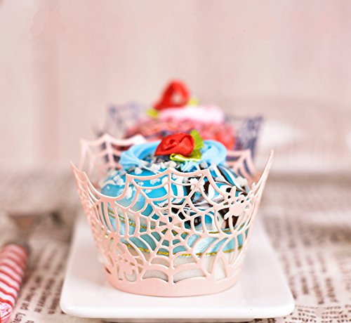- Goldblue 60 Pink Spider Web Pearlescent Paper Cupcake Wrappers Baby Shower Wedding Party Cake Liners Decoration(Pink)