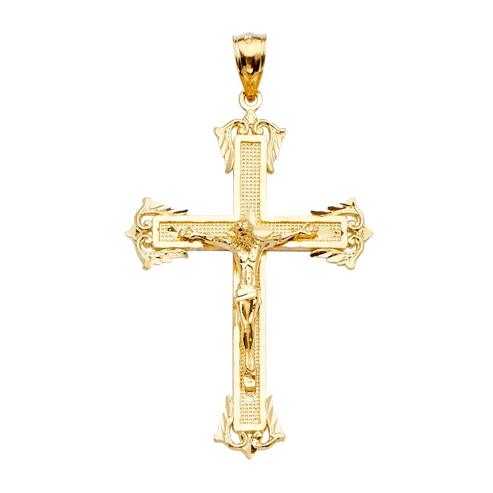 14K Yellow Gold Crucifix Cross Religious Charm Pendant For Necklace or Chain Ioka