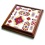 3dRose trv_255031_1 Red, Yellow, Blue Tribal Designs Pattern Trivet with Tile, 8 x 8, Multicolor