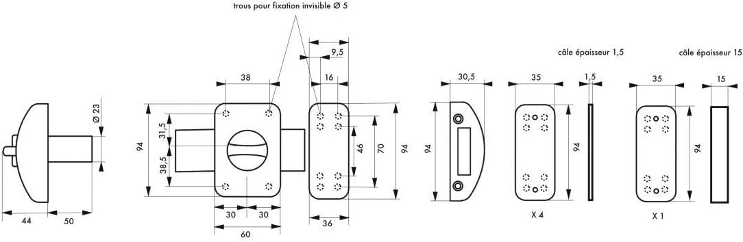 50 mm argent 3 cl/és Thirard Verrou de porte dentr/ée design 5 goup