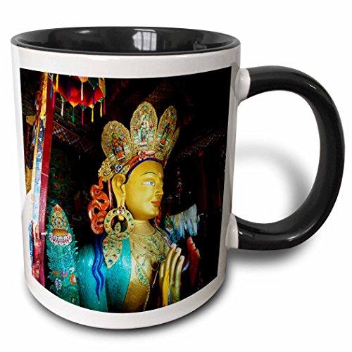 (3dRose Danita Delimont - India - India, Ladakh, Maitreya Buddha, Thiksey Monastery - AS10 AAS0071 - Anthony Asael - 15oz Two-Tone Black Mug (mug_132529_9))