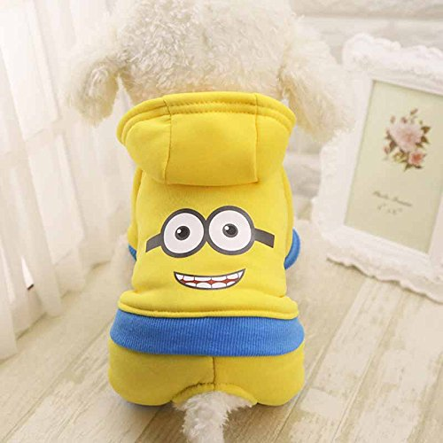 Pet Costume Coat For Small Dogs and Cats - Fall, Winter and Spring Season (2XL, Yellow Minions)]()