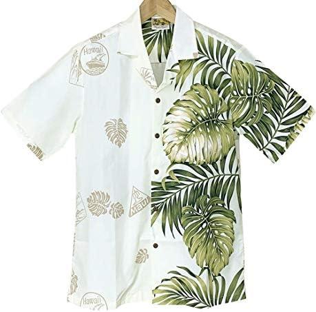 メンズアロハシャツ ハワイ製 ライトイエロー/片側緑葉柄 Winnie Fashion オフホワイト