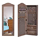 Giantex Jewelry Armoire Cabinet Wall Mounted with Mirror Rustic Lockable Full Length Mirrored Jewelry Cabinet Storage Organizer W/Lock 3 Shelved Compartments, Wood Brown