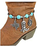 V G S Eternity Fashions Boot Chain ~ Cowboy Boots Hat Blue Beads Boot Charm Anklet (Boot Charm K82411BTTQ-S)