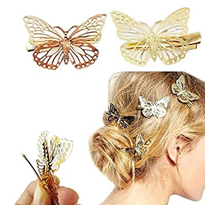 Yueton 1 Pair Silver Butterfly Hair Clip Hair Accessories, Bride Headwear Hair Clips