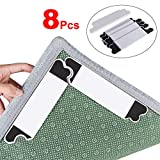 Upgraded Rug Grippers, (8 Pack) Reusable Carpet Holders, Non Slip Anti Curling Rug Gripper, Keep Your Rug in Place & Make Corners & Edges Flat, Premium Carpet Gripper with Renewable Gripper Tape