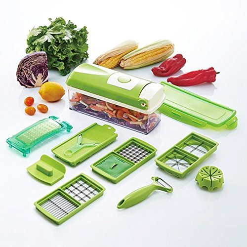 Gracelove Home Kitchen 12 PCS Plus Vegetable Fruit Slicer Peeler Nice Dicer Cutter Chopper Grater Tool Set (Green)