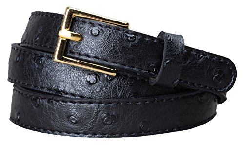 [Womens Square Buckle Color Ostrich Print Leather Skinny Belt (XL(37.5