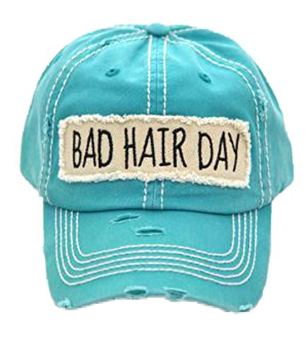 - Kbethos Trading Women's Bad Hair Day Vintage Patch Baseball Hat Cap (Turquoise)