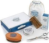Monster&Son Premium 7-Item Beard Kit | Beard Oil, Beard Balm, Beard Brush, Beard Comb, Scissors, Canvas Travel Bag | Male Grooming Kit in Gift Box | Great Mens Birthday Gift | Father's Day