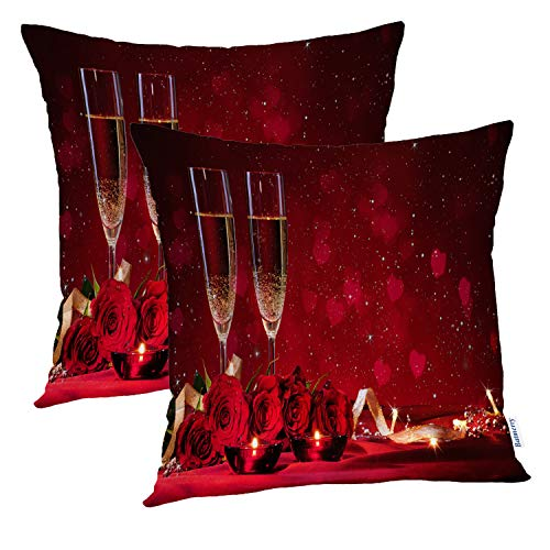 (Batmerry Rose Pillow Cover 18x18 Inch Set of 2, Romantic Red Wine and Red Rose Decor Double Sided Square Pillow Cases Pillowcase Sofa Cushion)