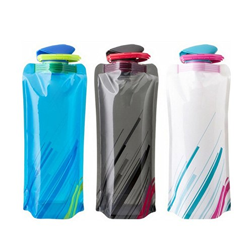 (3 Pack) Foldable Water Bottles - Collapsible with Leak Proof Twist Cap 700ml