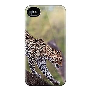 New Leopard On Tree Trunk Tpu Case Cover, Anti-scratch 6Plus Phone Case For Iphone 4/4s