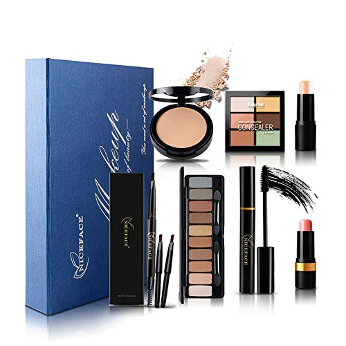 FantasyDay 7Pcs Pro Makeup Gift Set Essentials Starter Beauty Kit Including Eyeshadow Palette, Concealing Pressed powder, Contour Palette, Eyelashes Mascaraf and Foundation Brush Cosmetic Tool Set ()