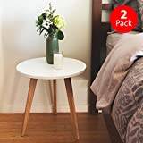 Cheap STNDRD. Mid-Century Modern End Table: Perfect Bedside Nightstand or Living Room Side/Accent Table – White Round Tabletop & 3 Bamboo Legs [2-Pack]