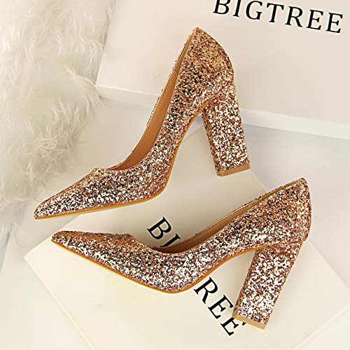 Thick Sequins Wedding Mouth Shoes Autumn Shoes Shoes zapatos Women's Red Silver Pointed Bridal alto Champagne de Gold Heeled High with tacón Shallow Yukun 8OwqHZ