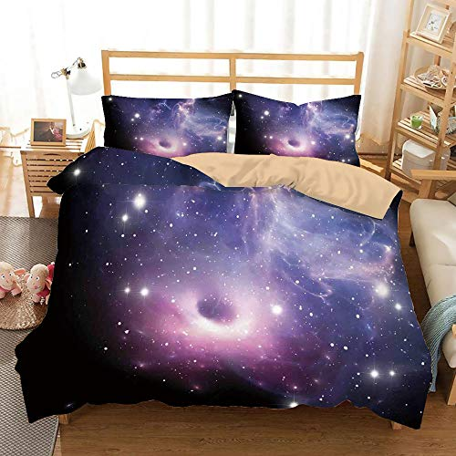 Space Decorations Khaki Duvet Cover Set Twin/Twin XL Size,Black Hole in the Nebula Gas Cloud in Outer Space Universe Astro Solar System Print,Decorative 3 Piece Bedding Set with 2 Pillow Shams,Navy Pu