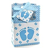 Baby Feet Blue - Baby Shower Party Favor Boxes - Set of 12