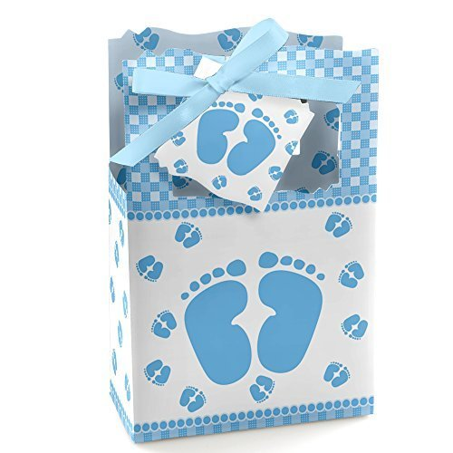 - Baby Feet Blue - Baby Shower Party Favor Boxes - Set of 12