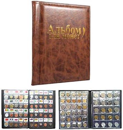 Farbe : Braun 10 Seiten M/ünzenalbum M/ünzsammler 250 Taschen F/ür M/ünzen Lager M/ünzsammlung Buch Russisch