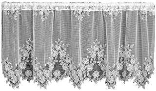 product image for Heritage Lace Tea Rose 60-Inch Wide by 30-Inch Drop Tier, White