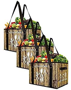 Earthwise Reusable Grocery Bag Set Deluxe Collapsible Shopping Box with Reinforced Bottom (Set of 3)