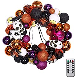 "20"" Pre-Lit Fun Halloween Wreath with Spooky Ornaments"
