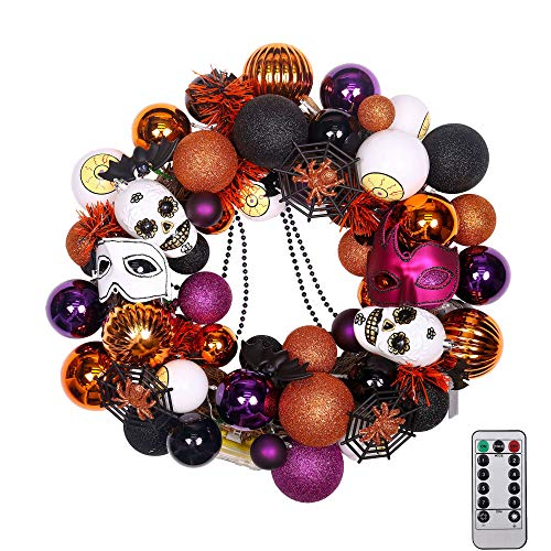 "Valery Madelyn Happy Halloween 20"" Pre-Lit Halloween Wreath for Front Door, Spooky Treat-or-Trick Shatterproof Halloween Ornaments, Halloween Lights with Remote and Timer"