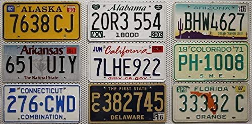 Metallschilder Wyoming KFZ Kennzeichen Florida ////// License Plates Lot USA/_Auswahl/_von/_Fahrzeugschildern 3 USA Nummernschilder komplett als Set ////// Auto-Kennzeichen aus den U.S.-Staaten Illinois
