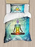 Big buy store Yoga Duvet Cover, Mandala Design Zen Meditation Hippie Style Sign Chakra Art Print, Decorative 4 Piece Bedding Set 2 Pillow Sham, Turquoise Dark Blue White(Twin)
