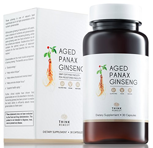 100% Korean - Aged Panax Ginseng Capsules - 7% Ginsenosides - Ginseng Pills for Energy Boost and Stress Relief - 30 Capsules - Panax Ginseng Root Extract Supplement