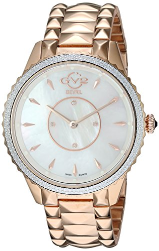 GV2 by Gevril Women's Siena Swiss-Quartz Watch with Gold-Tone-Stainless-Steel Strap, Rose, 18 (Model: 11701-929