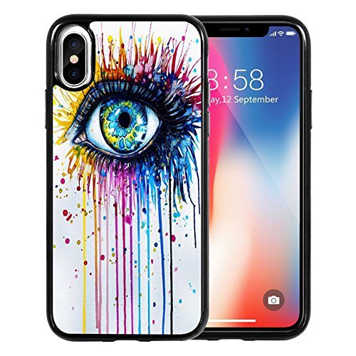 iPhone X Case, Watercolor painting Art Print-multicolor eye, DOO UC Laser Technology for Protective Case for Apple iPhone X (2017)