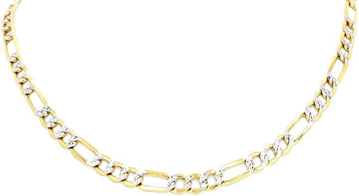 14k Two Tone Gold Solid Mens 4.5mm Stamped Figaro White Pave Chain Necklace with Lobster Claw Clasp
