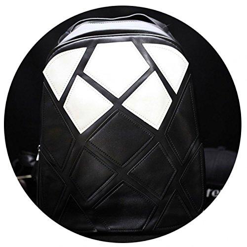Meoaeo Double Black Pu-Beutel Student'S Tasche Männer Schultertasche Persönlichkeit Mode