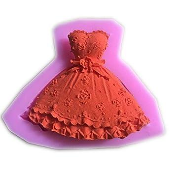 Molde de Silicona en Forma de Falda Vestido de la Princesa 3D DIY para Magdalenas Fondant Mini Tarta Moldes de Chocolate: Amazon.es: Hogar