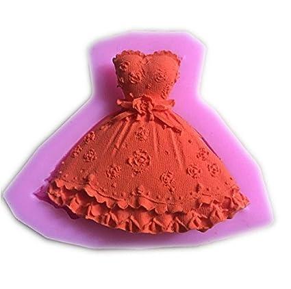 Molde de Silicona en Forma de Falda Vestido de la Princesa 3D DIY para Magdalenas Fondant
