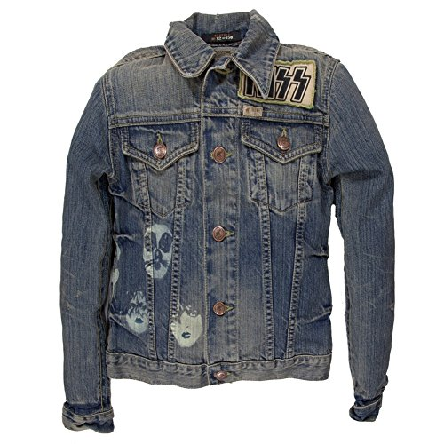 Us 77 Tour T-shirt (Kiss - US Tour 77 Premium Juniors Denim Jacket Blue Small)