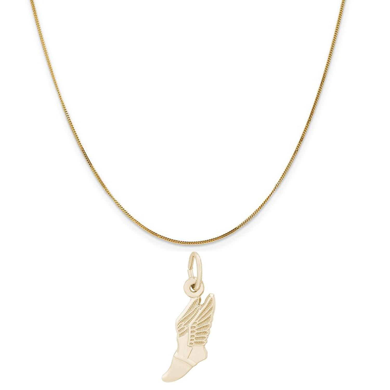 レンブラントチャーム14 KイエローゴールドのシューチャームWinged A 14 K黄色ゴールド縁石チェーンネックレス、16インチ B0772RQKGH
