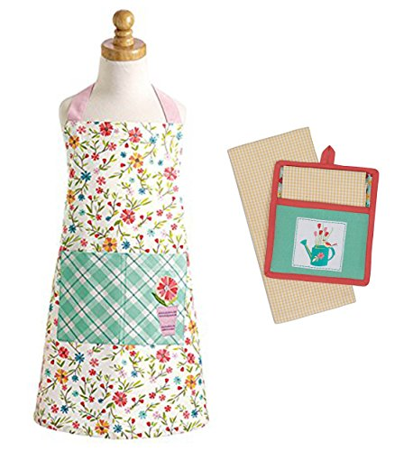 Chef Set for Kids - Floral Apron Pocket with Potholder Kitchen Towel - Daisy Plaid -