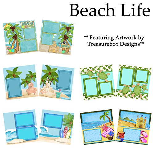 (BEACH LIFE Scrapbook Set - 5 Double Page Layouts )