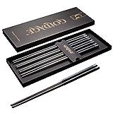 Goldage 5-Pairs Stainless Steel & Fiberglass Dishwasher-Safe Chopsticks