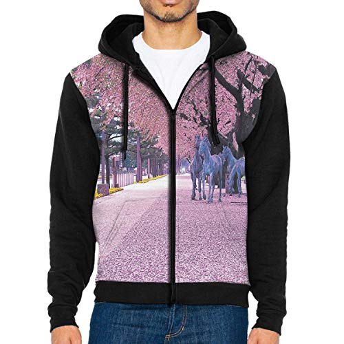 Men Hoodie The Cherry Blossom Festival Stylish Full Zip with Pocket Jackets Lightweight Halloween