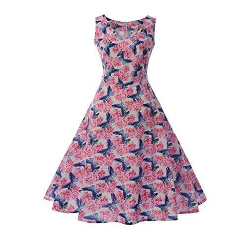 Huhu833 50s Retro Vintage Kleid Blume Drucken Ärmelloses Casual ...