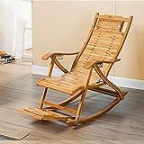 Bamboo Single Rocking Chair, Telescopic Massage Pedal Foldable Elderly Recliner Cushion 624-YY