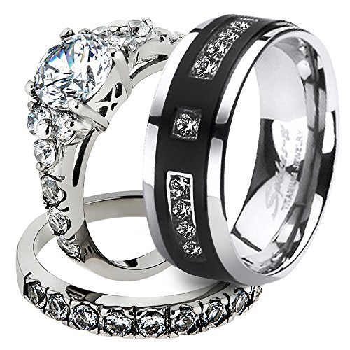 Marimor Jewelry His & Her Stainless Steel 2.50 Ct Cz Bridal Set & Men's Titanium Wedding Band Women's Women's Size 06 Men's Size 11