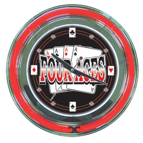 (Four Aces Chrome Double Ring Neon Clock, 14